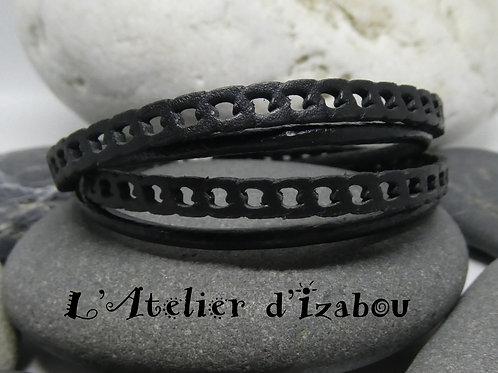 Bracelet homme, masculin multitours cuir forme chaîne gourmette
