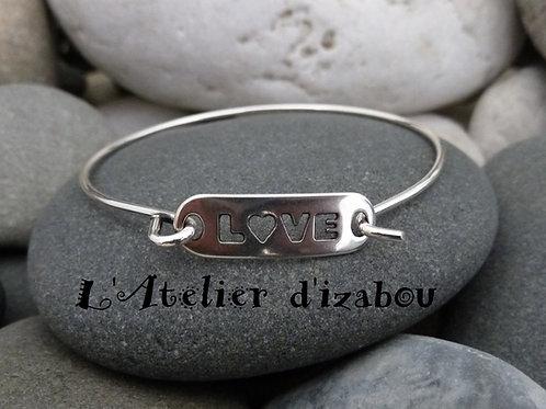 Bracelet jonc fin Saint Valentin femme et connecteur Love