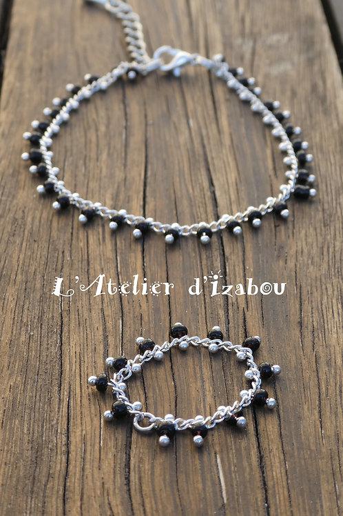 Parure tendance bague et bracelet en chaîne à perles noires et argenté