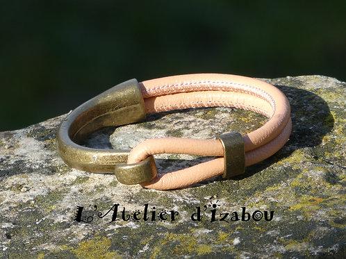 Bracelet demi jonc bronze et cuir rond pêche