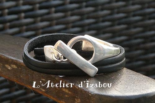 Bracelet demi jonc double tour de cuir noir