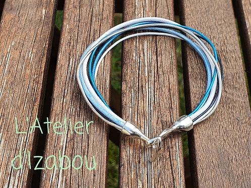Bracelet tons bleu-blanc
