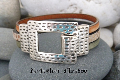 Bracelet femme Savane en cuirs kaki et orangé vieilli, cuir léopard