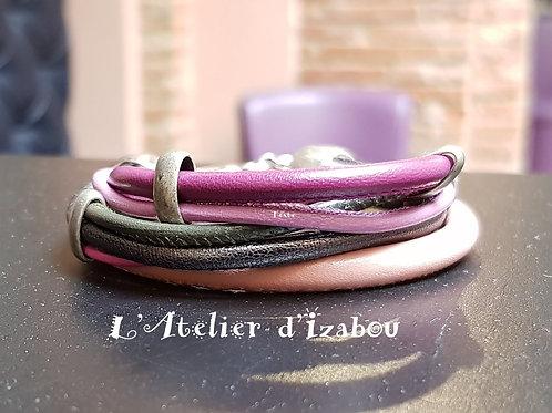 Bracelet multirangs, cuirs ronds rose, violet et gris