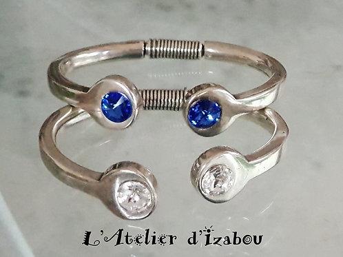 Bracelet jonc ouvert strass swarovski bleu ou blanc
