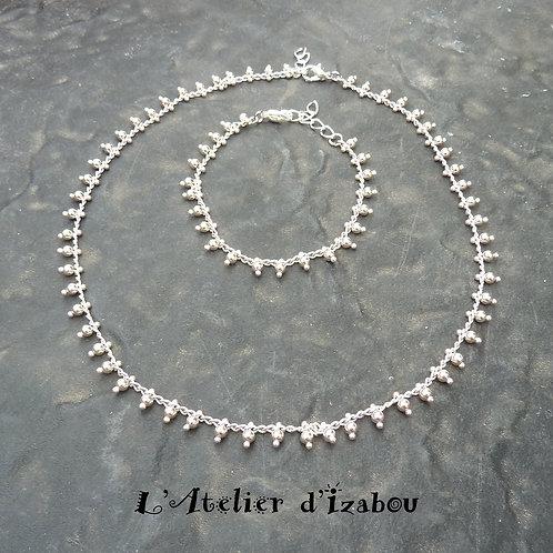 Parure collier ras de cou et bracelet chaîne à perles