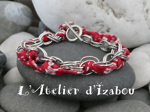 Bracelet chaîne et liberty rouge à fleurs