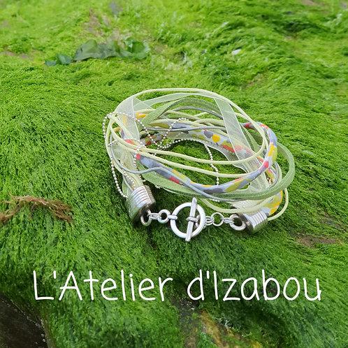 Bracelet multimatières tons verts !
