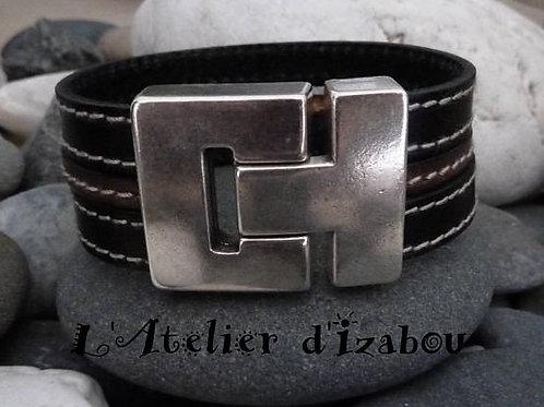 Bracelet large multirangs pour homme en cuir cousu noir et cuir cousu kaki
