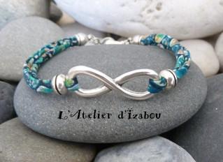 Bracelet infini sur mesure en liberty bleu-vert
