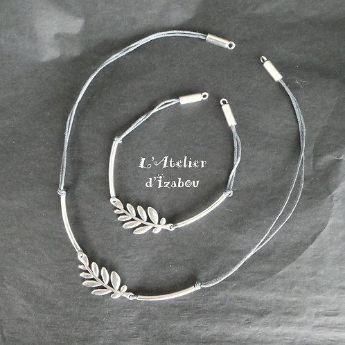 Parure bracelet et collier fin branche d'olivier et coton ciré rouge