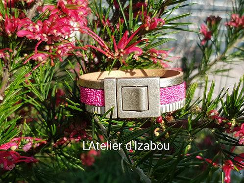 Bracelet cuir caviar rose fluo et argent