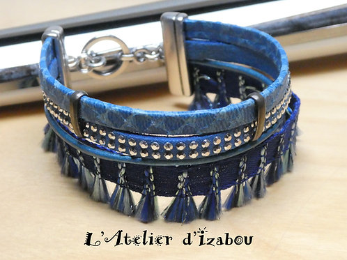 Bracelet multirangs manchette bleu klein, multitextures