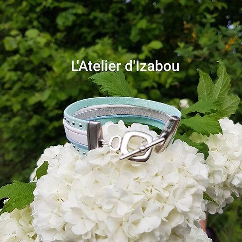 Bracelet multirangs blanc-bleu