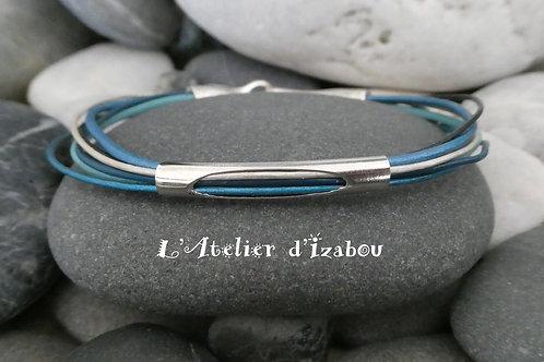 Bracelet fin femme camaïeu de cuirs bleus et long passant