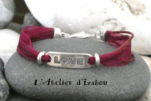 """Bracelet fin Love, organza et coton ciré Bordeaux, connecteur """"Love"""""""