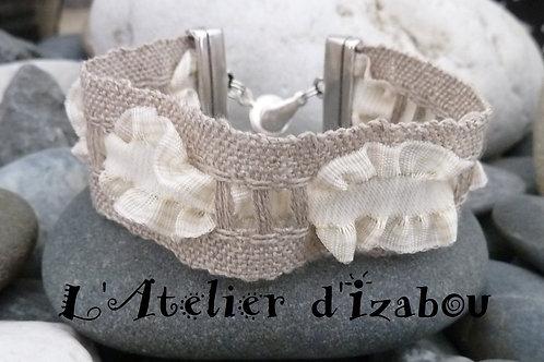 Bracelet shabby chic ruban de lin et coton