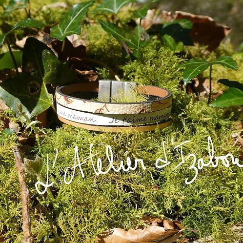 """Bracelet Fête des mères large multirangs cuirs gris verts gravé """"je t'a"""