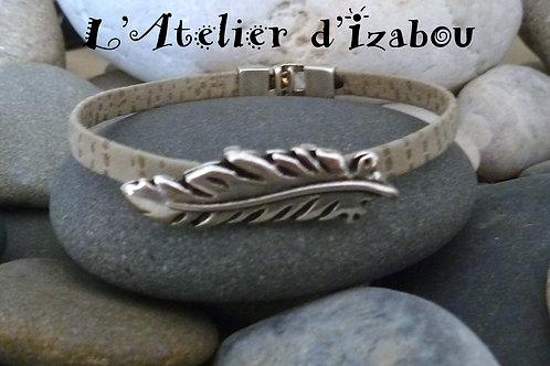 Bracelet femme cuir/daim gris moucheté et passant plume