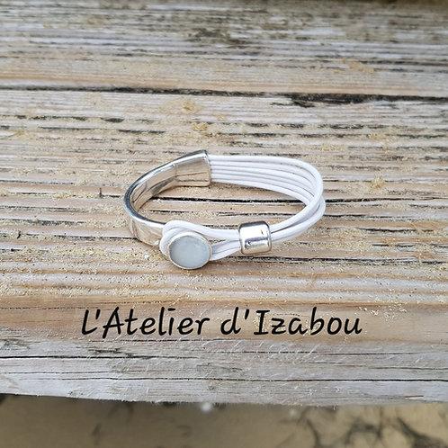 Bracelet demi jonc cuir blanc