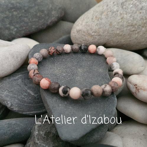 Bracelet perles de Jaspe gris/rose