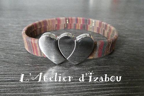 Bracelet amour daim multicolore chaleureux fermoir double coeur