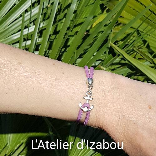 """Bracelet """"Je lève l'ancre"""" en cuir violet et son fermoir ancre !"""