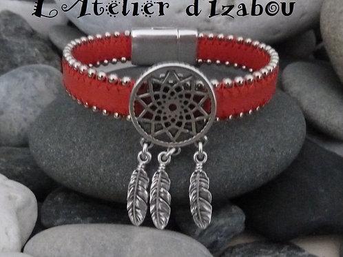 Bracelet femme cuir corail bordé de chaînes, passant attrape rêves