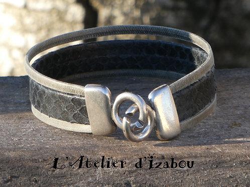 Bracelet homme multirangs cuir noir reptile et cuir gris vieilli mat, fermoir cr