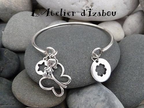 Bracelet jonc ouvert chic femme rond métal argenté et breloques