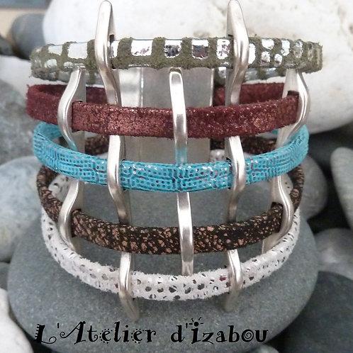 Bracelet original manchette femme multirangs multicolore en cuir