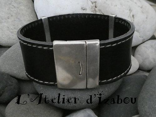 Bracelet homme large cuir épais cousu noir, fermoir aimanté sécurisé