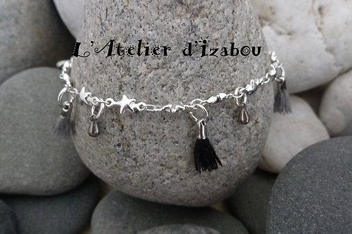 Bracelet femme chaîne étoile, pompons gris et noir, gouttes d'eau