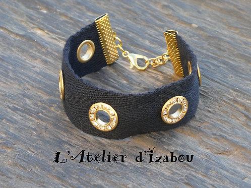 Bracelet femme artisanal ruban sergé de coton oeillets strass