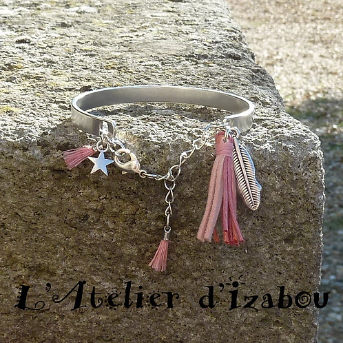 Bracelet jonc femme et pompons roses