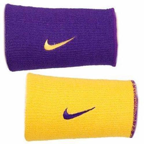 Par de munhequeiras Longa Nike Dri-Fit Dupla Face Roxo e a Amarelo