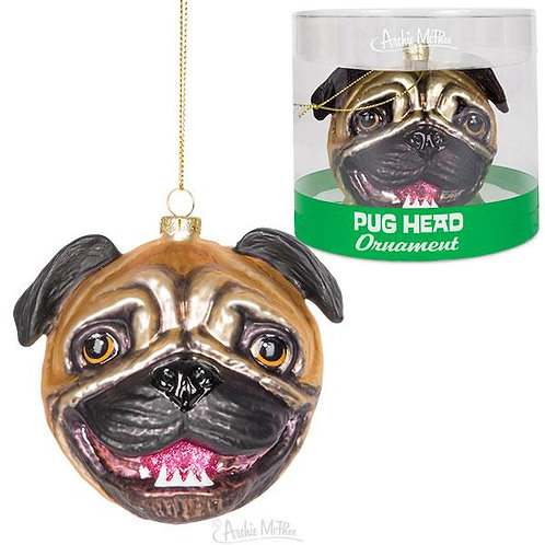 Pug Head Christmas Ornament