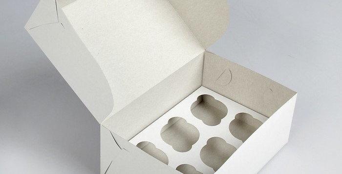 Коробка под капкейки без окна  6  ячеек белая