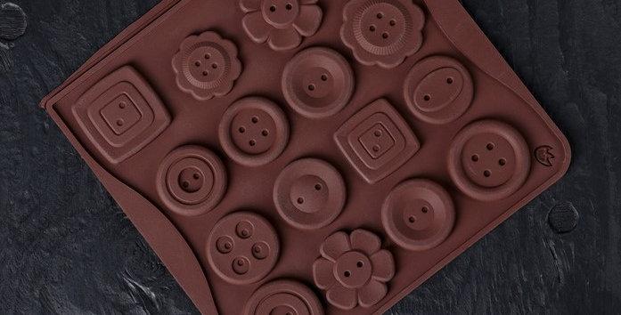 "Форма для леденцов  и шоколада 16 ячеек 17,4 х16,5 х 0,4 см ""Пуговки"" цвет МИКС"