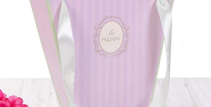 Пакет трапеция  для цветов или подарков «Будь счастлив», 23 × 23 × 10 см