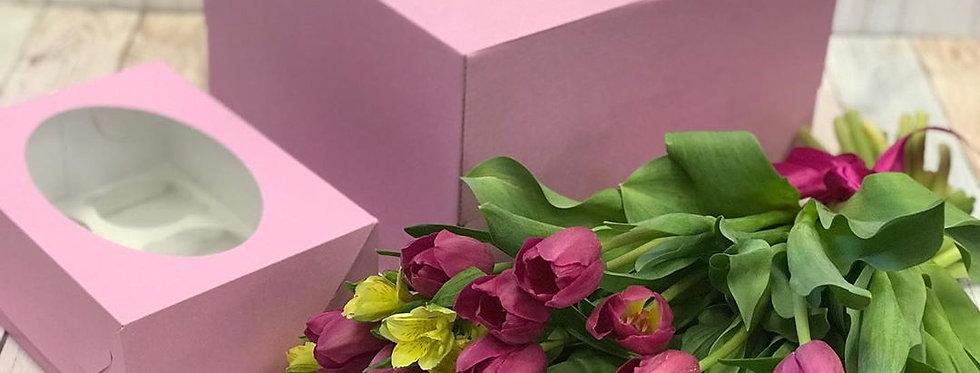 Коробка под капкейки с окошком на 6 капкейков (розовая)
