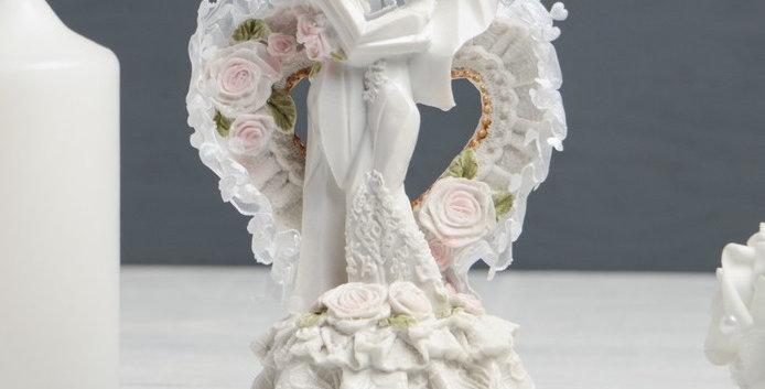 """Фигурка свадебная для торта """"Сердце с молодоженами"""", 8х7х12 см"""