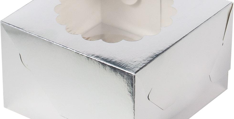Коробка под 4 капкейка с окошком   (серебро)(золото)160*160*100 мм