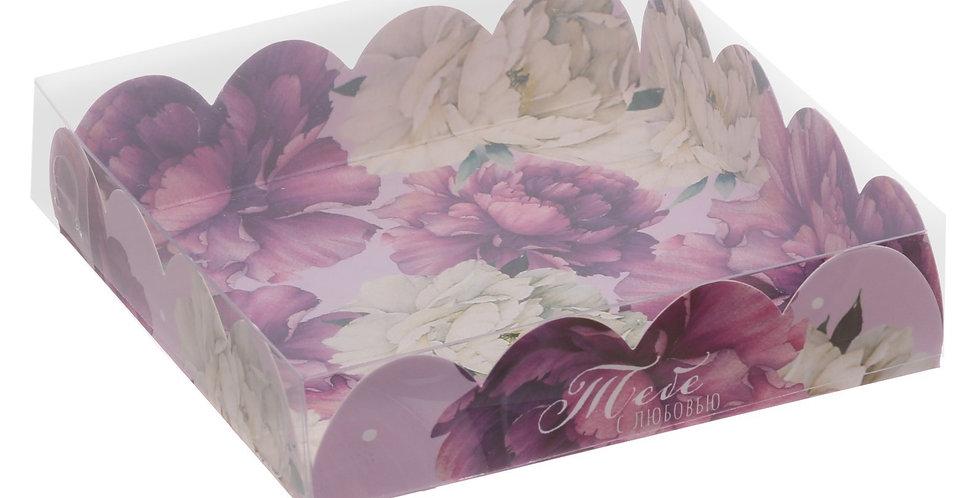 Коробка для кондитерских изделий  «Пионы », 13 × 13 × 3 см