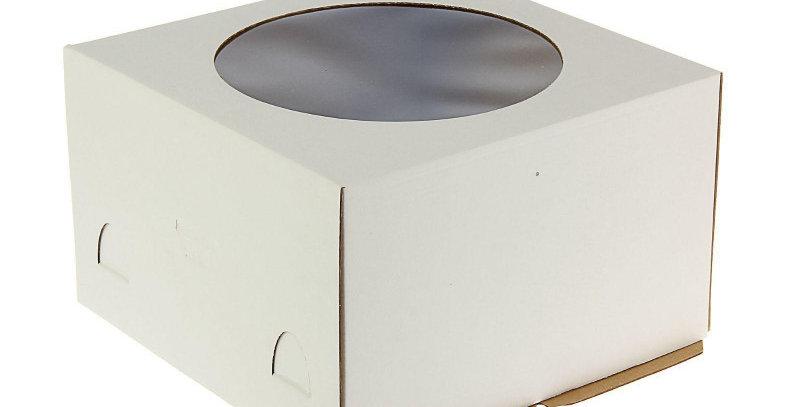 Коробка для торта с окошком, 260*260*180 мм (белая) Х-Э