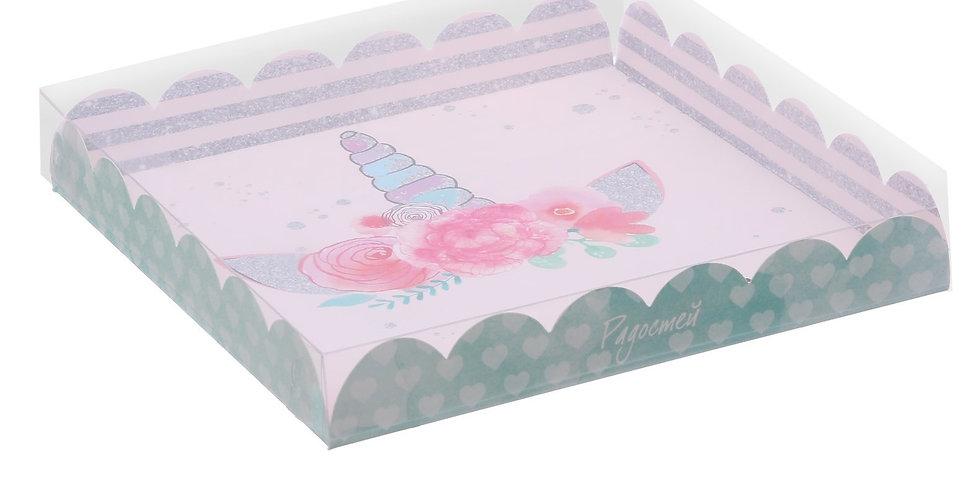 Коробка для кондитерских изделий  «Единорог», 21 × 21 × 3 см