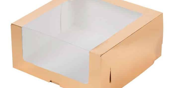 Коробка для торта с увеличенным окошком (золото)