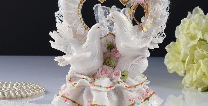 """Фигурка для торта """"Сердце с голубями"""", большая, 15х13х20 см"""