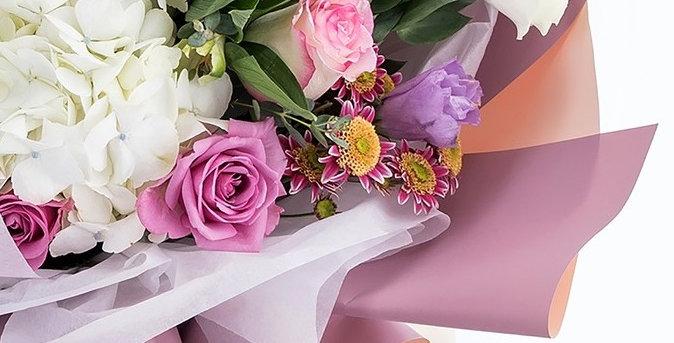 """Пленка для цветов и подарков """"Полибумага"""", матовая, сиреневый-розовый, 0,6 х 5 м"""