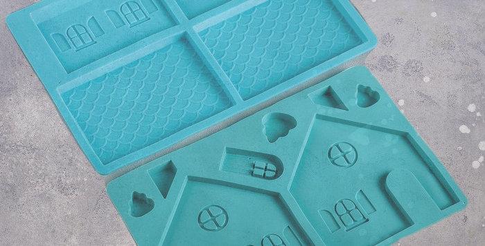 «Имбирный домик» Набор форм для пряников и шоколада  из 2 частей, 35×24 см